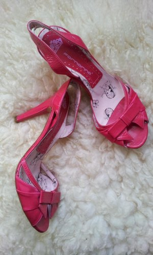 Fornarina Sling-Sandalette in 39, Pink / Fuchsia, Satin / Lackleder, NEU
