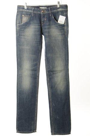 Fornarina Straight-Leg Jeans dunkelblau-wollweiß Used-Optik