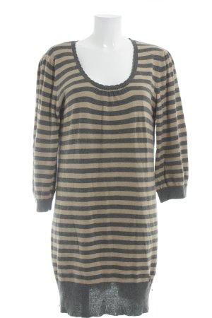 Fornarina Knitted Dress dark grey-beige horizontal stripes 2-in-1 look