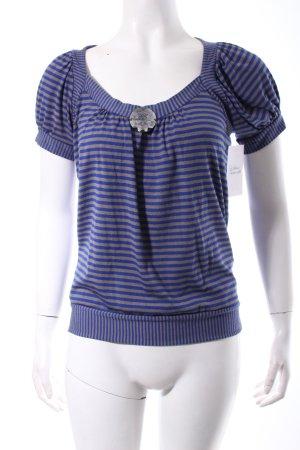 Fornarina T-Shirt blau-grau Streifenmuster Casual-Look