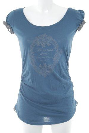 Fornarina T-Shirt petrol-graubraun Schriftzug gedruckt Casual-Look