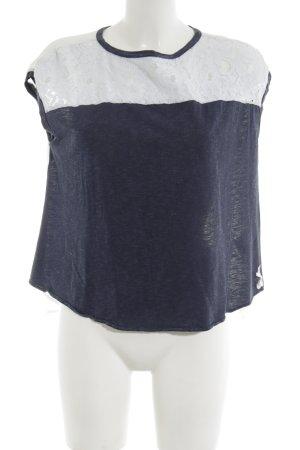 Fornarina Transparenz-Bluse weiß-blau meliert Casual-Look