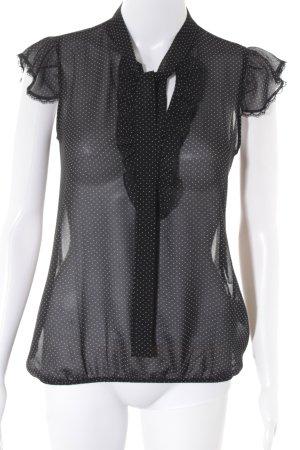 Fornarina Transparenz-Bluse schwarz-weiß Punktemuster Business-Look