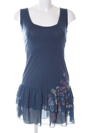 Fornarina Vestido estilo flounce azul-rosa estampado temático look casual