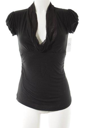 Fornarina Camisa con cuello caído negro estilo clásico