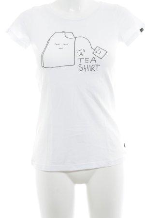 Forvert T-Shirt wollweiß-schwarz Motivdruck Casual-Look