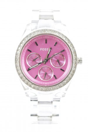 Fossil Analoguhr silberfarben-pink Street-Fashion-Look