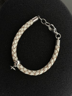 Fossil Leather Bracelet oatmeal-silver-colored