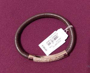 Fossil armband armreif leder gold kristall braun