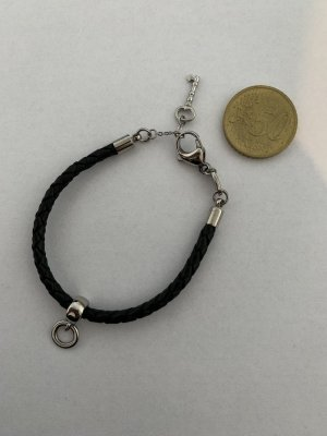 Fossil Leather Bracelet black-silver-colored