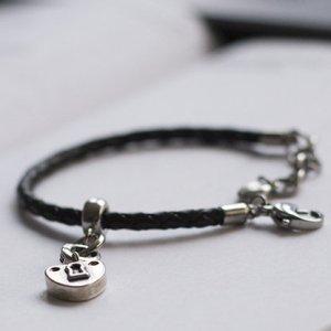 Fossil Armband - Leder - Charm - schwarz - silber - Herz
