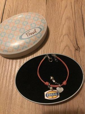 Fossil armband silber / Rosa Leder