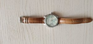 Fossil Watch With Leather Strap silver-colored-light brown