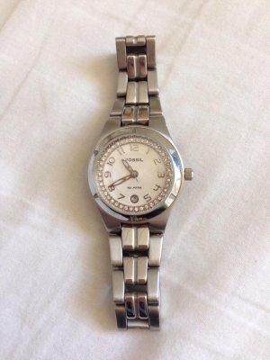 FOSSIL Armbanduhr in silber mit Strasssteinen - selten getragen!