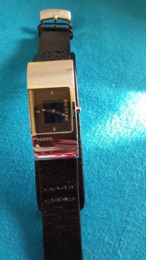 fossil Armbanduhr Lederband schwarz