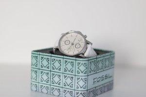 Fossil Armbanduhr mit Lederarmband weiß/silber