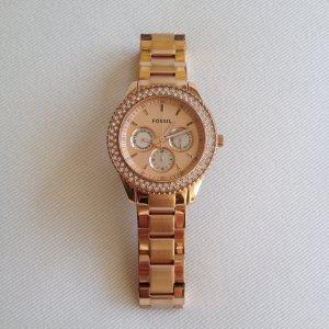 Fossil Armbanduhr roségold mit Steinchen
