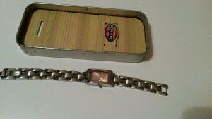 FOSSIL Armbanduhr silber mit rosa Ziffernblatt
