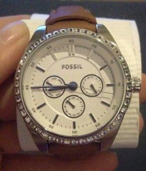 fossil bq 3015 damenuhr armbanduhr neu ungetragen leder