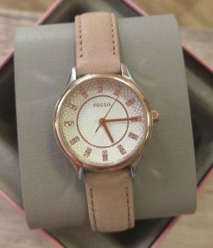 Fossil bq1576 damenuhr armbanduhr leder nude beige rosė kristall