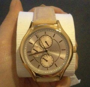 fossil bq3020 damenuhr armbanduhr leder rosé gold