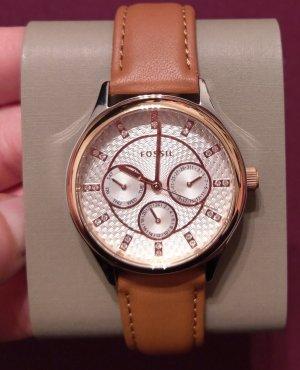 Fossil bq3045 Damenuhr neu Armbanduhr leder rosė silber kristall