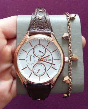 Fossil Watch With Leather Strap rose-gold-coloured-brown