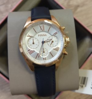fossil bq3121 damenuhr neu armbanduhr leder edelstahl chronograph blau rosė weiß