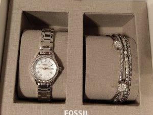 Fossil Horloge met metalen riempje wit-zilver