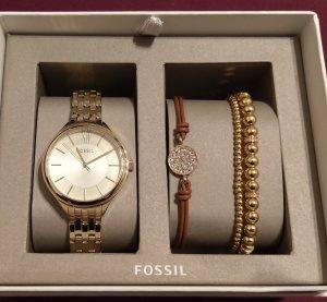 fossil bq3153 set damenuhr armbanduhr armbänder gold neu