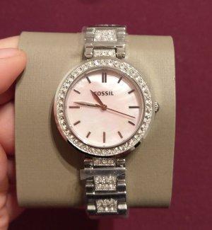 fossil bq3182 Damenuhr armbanduhr neu silber rosa kristall