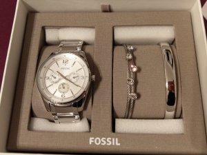 Fossil BQ3200 Set Damenuhr Armband silber Armbanduhr neu