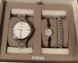 Fossil bq3348 Damenuhr Armbanduhr silber neu set