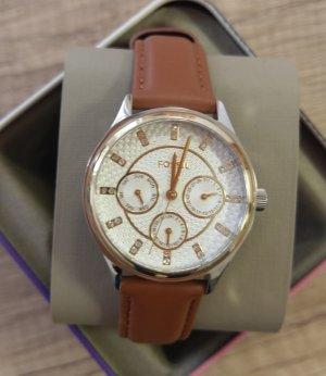 Fossil Bq3408 damenuhr Armbanduhr Leder braun edelstahl gold silber kristall