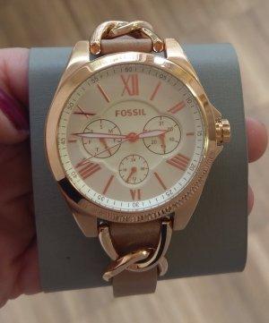 Fossil BQ3410 Damenuhr neu Armbanduhr Rosė nude Leder Chronograph