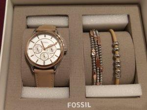 Fossil Montre avec bracelet en cuir multicolore