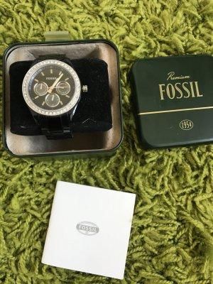 Fossil Chronograph Armbanduhr Schwarz mit Batterie