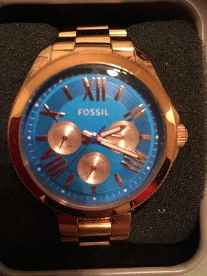 Fossil Reloj color rosa dorado-azul aciano