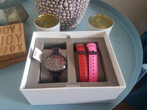 Fossil Damen Uhr Armbanduhr Set Leder Neu