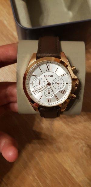 fossil Damen Uhr leder braun rosegold mit Etikett