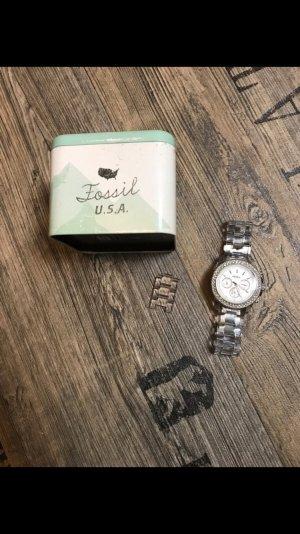 Fossil Damen Uhr Steine weiß durchsichtiges Armband Silber Gelenk