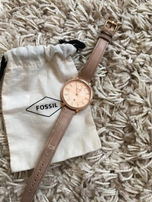 Fossil Watch With Leather Strap rose-gold-coloured