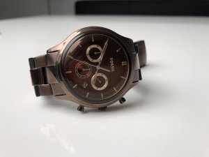 Fossil Analog Watch bronze-colored-dark brown