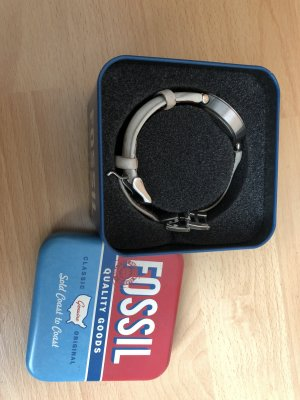 Fossil Horloge met lederen riempje wit