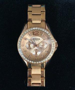 Fossil Horloge met metalen riempje roségoud-goud