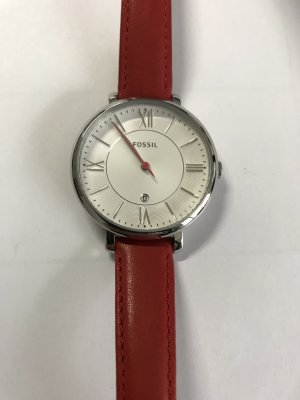 Fossil Watch silver-colored-dark red