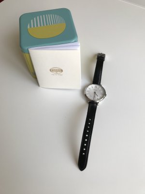 Fossil Watch With Leather Strap black-silver-colored leather