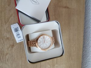 Fossil Analog Watch rose-gold-coloured-white stainless steel