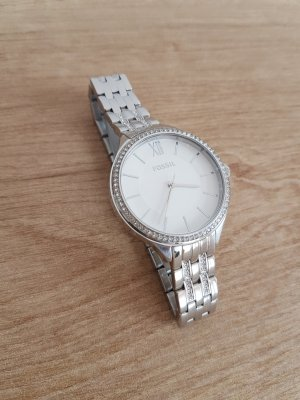 Fossil Reloj con pulsera metálica color plata-blanco acero inoxidable
