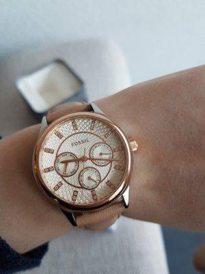 Fossil Damenuhr Uhr Leder nude beige Rosegold Silber